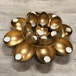 001TL Gold Flower Tea Light Holder