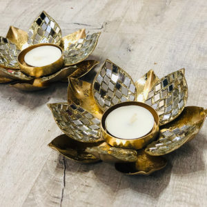 006TL Gold Lotus Tea Light with Mirror Diamonds